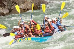 Paddle up on the Thompson River Fantasy Island Rafting Getaway , BC