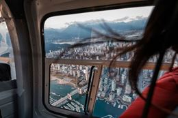 Downtown city from the air with a Vancouver helicopter tour.