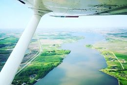 views of Brandon Manitoba during introductory flying lesson