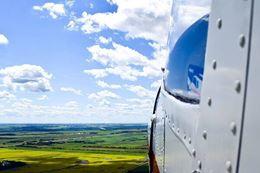 view from plane window over Brandon Manitoba
