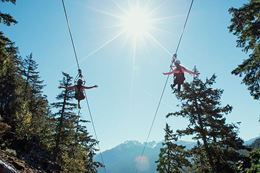 Ziplining  in Whistler side by side after off road tour