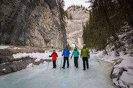 Grotto Canyon Icewalk, banff in winter