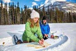 Snowshoeing Banff in winter, Marble Canyon