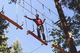 Nanaimo WildPlay aerial adventure course rope bridge