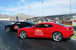 Racing Camaro SS' in side-by-side competition at Texas Motorplex, Dallas